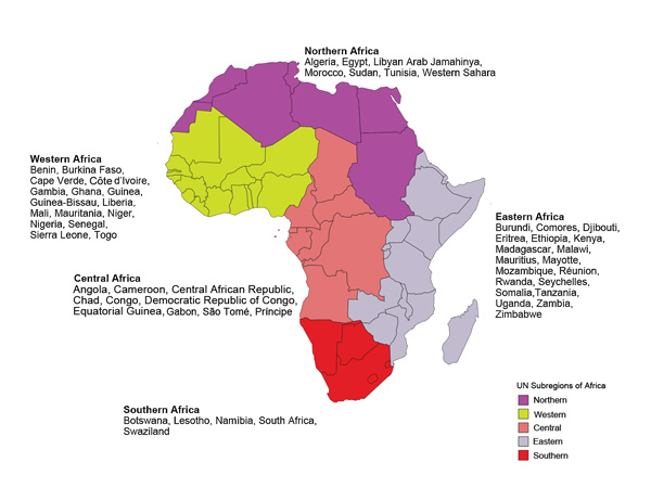 Regions of Africa as defined by the United Nations geoscheme (5). For persons whose country of exposure was unascertainable or missing but for whom all recent travel was to the same region of Africa, data were included in the final dataset.