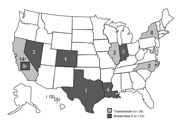 Confirmed and probable cases of postprocedural fungal endophthalmitis, by state, United States, 2011–2012. Infections occurred after exposure to a product from Franck's Compounding Lab (Ocala, FL, USA), though March 2012, when the implicated product was recalled. *In California, cases were associated with exposure to each product.