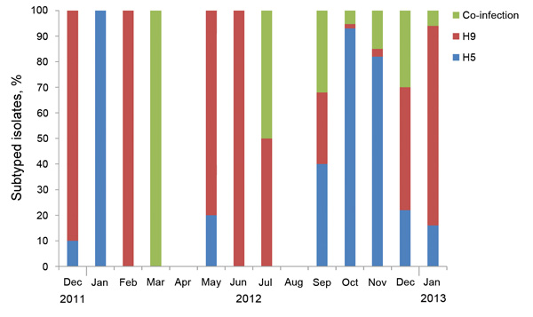 Subtypes of influenza A viruses detected in poultry, by month, by using reverse transcription PCR, Egypt, 2010–2012.