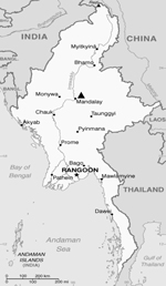Thumbnail of Location of Mandalay Children Hospital (triangle) in Myanmar.