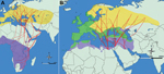 Thumbnail of Migration patterns of birds carrying ticks with Crimean-Congo hemorrhagic fever virus. A) Great reed warbler (Acrocephalus arundinaceus) migration routes (red lines), breeding grounds (yellow) and wintering areas (purple). Bodies of water are blue, and nonbreeding/nonwintering areas are light green.. B) European robin (Erithacus rubecula) migration routes (red lines), resident grounds (green), breeding grounds (yellow), and wintering areas (purple). Bodies of water are blue, and non
