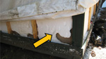Thumbnail of Damage from rodents tunneling in the foam insulation of a signature tent cabin, Yosemite National Park, summer 2012.