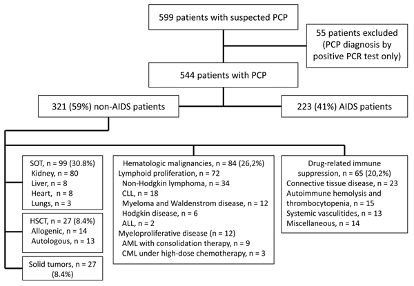 Flowchart of selection of patients with Pneumocystis jirovecii pneumonia (PCP) for study and underlying conditions among non-AIDS patients, France, January 1, 2007–December 31, 2010. Miscellaneous conditions: inflammatory diseases or automimmune (n = 4); common variable immunodeficiency (n = 2); focal segmental glomerulosclerosis (n = 2); sarcoidosis (n = 1); steroid-dependent asthma (n = 1); idiopathic pulmonary fibrosis (n = 1); acute alcoholic hepatitis (n = 3). ALL, acute lymphoid leukemia;