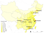 Thumbnail of Geographic distribution of urban locations (red stars) and rural locations (blue triangles) selected for population survey to determine human exposure to live poultry and attitudes and behavior toward influenza A(H7N9) in China, 2013. Black dots indicate geographic locations of laboratory-confirmed cases of H7N9 through October 31, 2013. Shading indicates population density (persons per square kilometer). The 5 selected urban locations were Chengdu, capital of Sichuan Province in we