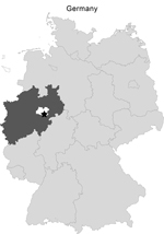 Thumbnail of Area of Germany where hares were hunted on November 2, 2012. Rüthen-Meiste (black star; latitude: 51.512890, longitude: 8.487493, altitude: 380 m), Soest district (white) of the federal state of North Rhine-Westphalia (dark gray).