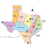 Thumbnail of Locations of canine shelters within Texas, United States, 2013. Shelters (A–G) are distributed across 7 of the 10 Gould Ecoregions of Texas (9), Map obtained from Texas parks and Wildlife Department (http://www.tpwd.texas.gov/publications/pwdpubs/media/pwd_mp_e0100_1070ad_08.pdf).