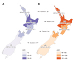 Thumbnail of Average annual ASR (no. cases/100,000 population) of staphylococcal sepsis (A) and staphylococcal skin and soft tissue infections (B), New Zealand, 2000–2011. ASR, age-standardized rate.