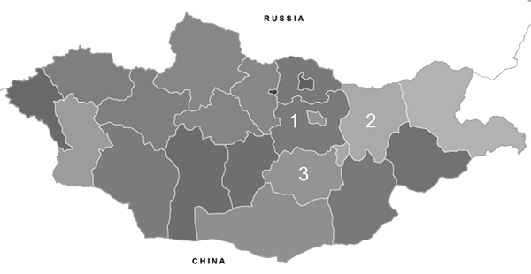 The 3 aimags from which nasal swab specimens were collected from healthy Bactrian camels, for influenza A virus testing, Mongolia, 2012. 1, Töv;, 2, Khentii; 3, Dundgovi.