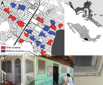Thumbnail of Area of study of long-lasting insecticide-treated screens in Acapulco, Mexico, March 2011–March 2013. A) Locations of clusters in the neighborhoods of Ciudad Renacimiento and Zapata, showing areas with (red) and without (blue) screens. Insets show location of study area (black box) in Acapulco and Guerrero state (black shading) in Mexico. B) Photographs of screens mounted on aluminum frames and fixed to windows and external doors of treated houses in 2012. The insects visible in the