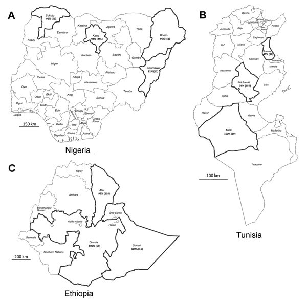 Countries and provinces sampled in this study: A) Nigeria, B)Tunisia, and C) Ethiopia. Black outline indicates provinces in which samples were collected. Serologic results are indicated in each province: percentage seropositive for Middle East respiratory syndrome coronavirus and (total number dromedaries tested). Maps adapted from http://d-maps.com/index.php