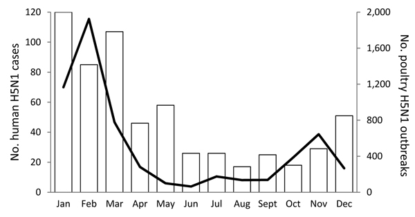 Monthly average number of highly pathogenic avian influenza A(H5N1) infection outbreaks among poultry (black line) and human H5N1 cases (white bars) for 8 study countries (Bangladesh, Cambodia, China, Egypt, Indonesia, Thailand, Turkey, and Vietnam) that reported 90% of all poultry H5N1 outbreaks and 97% of all human H5N1 cases during 2004–2013.