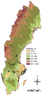 Thumbnail of Distribution of tularemia cases by altitude, Sweden, 1984−2012. Black dots indicate locations of reported cases.