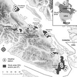 Thumbnail of Areas on Vancouver Island, British Columbia, Canada, in which environmental samples were collected to determine Cryptococcus gattii concentrations during 2002–2004. Environment Canada provided weather information from 15 stations across the island.