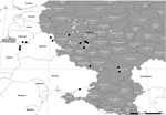 Thumbnail of Locations where isolates of African swine fever virus were obtained in Russia during or after 2011. Black circles indicate isolates with tandem repeat insertions, and white circles indicate isolates without tandem repeat insertions. obl., oblast; Resp., respublika.