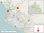 Thumbnail of Reported Ebola virus disease cases, Montserrado County, Liberia, as of July 31, 2014.