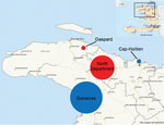 Thumbnail of Location of study sites used to determine mortality rates during cholera epidemic, Haiti, 2010–2011: entire town of Gonaives, urban slum in Cap-Haïtien, rural communal sections in North Department, and communal section of Gaspard. Red circles, rural sites; blue circles, urban sites. Circle size is proportional to the estimated population of each site.