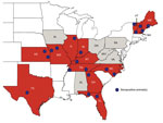 Thumbnail of Geographic groupings of confirmed seropositive animals for Heartland virus neutralizing antibodies, central and eastern United States, 2009–2014. Twenty groups were identified in 13 states. The geographic locations of the groups were subjectively approximated by the counties where seropositive animals were collected (blue circles). Red indicates states with seropositive animals; gray indicates states in which no seropositive animals were detected. Because of the sampling design, the