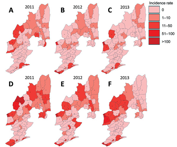 Distribution of township-level malaria incidence rate (cases per 100,000 population), Yunnan Province, China, 2011–2013. A–C) Plasmodium falciparum. D–F) P. vivax.