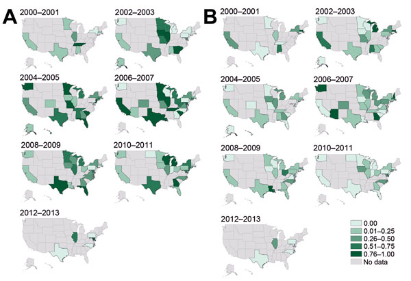 Proportions of methicillin-resistant Staphylococcus aureus isolates, United States 2000–2013. A) USA300 strain type. B) USA100 strain type. Darker shading indicates higher proportions of types reported in studies conducted during those years.