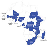 Thumbnail of Countries from which bacteremia data were presented at the Invasive Salmonella in Africa Consensus Meeting 2014 in Blantyre, Malawi (blue shading).