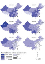 Thumbnail of Provincial distribution of probable and confirmed human anthrax cases, China, 1955–2014.