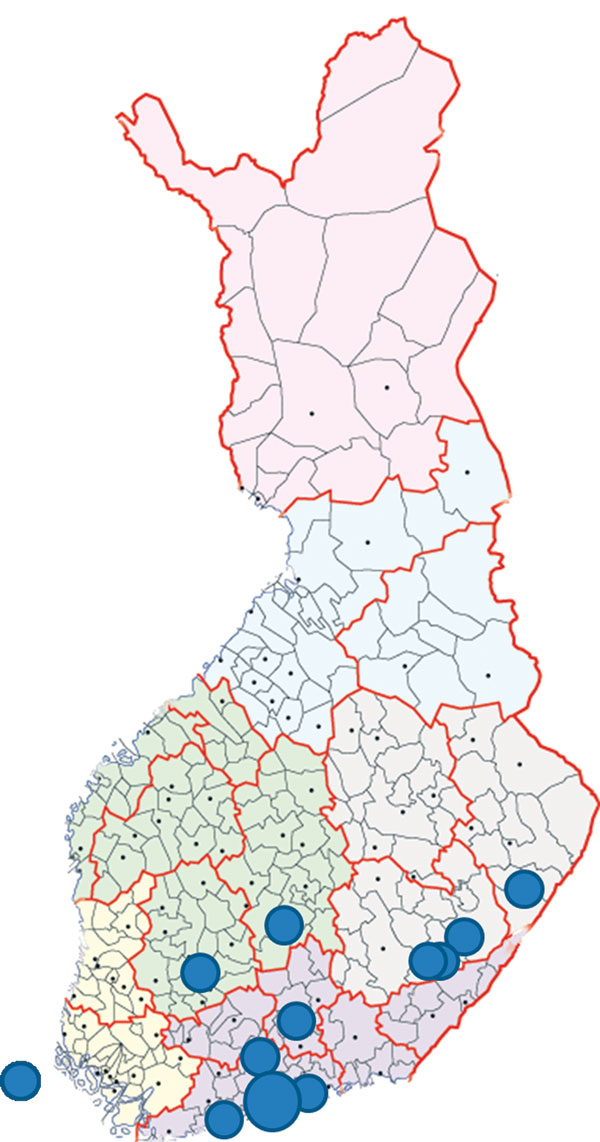 Locations of residence for 17 patients who were IgM positive for California serogroup virus infections, Finland. Each dot represents 1 patient except for the largest dot in southern Finland, which indicates a site for 6 patients. The dot on the far left indicates a patient from Åland Islands, Finland. Map source: National Land Survey of Finland (© 2015).