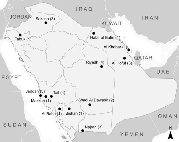 City or governorate of residence of persons with primary Middle East respiratory syndrome coronavirus included in the study, Saudi Arabia, March 16–November 13, 2014.