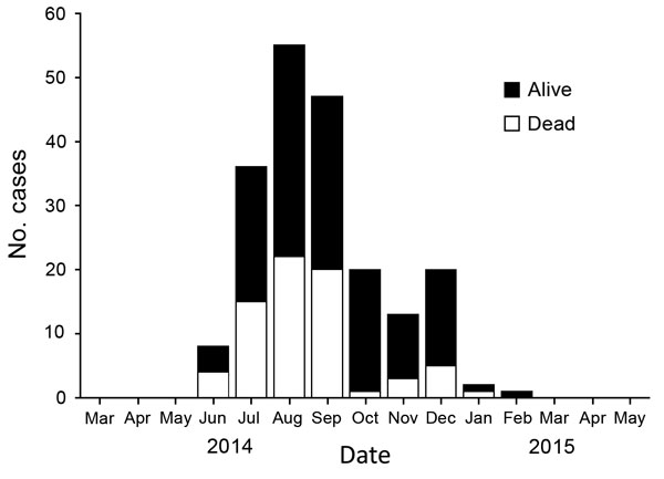 Trends for reported Ebola virus infections among 202 healthcare workers, by status and month, Liberia, March 2014–May 2015. Data source: daily aggregate reports of new cases in healthcare workers in Liberia and Liberia Ministry of Health and Social Welfare situation reports.