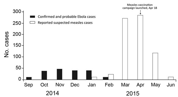 Ebola and measles cases per month in Lola, Guinea, September 2014–June 2015. Ebola data provided by the World Health Organization Global Outbreak Alert and Response Network field team in Lola. Measles data is monthly surveillance data reported by the Direction Préfectorale de la Santé, Lola.