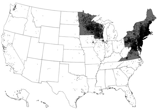 Lyme disease cases (black dots) reported by surveillance, United States, 2005–2010. One dot is placed randomly within the county of residence for each confirmed case. States with the highest incidence of clinician-diagnosed Lyme disease in a large health insurance claims database (gray areas) are also shown. Transmission also occurs in small regions of northern California, Oregon, and Washington. Adapted from (4).