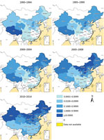 Thumbnail of Geographic distribution of the annual incidence rate per 100,000 residents of human brucellosis by 5-year periods, mainland China, 1990–2014.