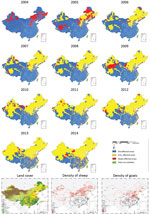 Thumbnail of Geographic expansion of human brucellosis across counties and distribution of land covers (28) and density of sheep and goats (29), mainland China, 2004–2014.