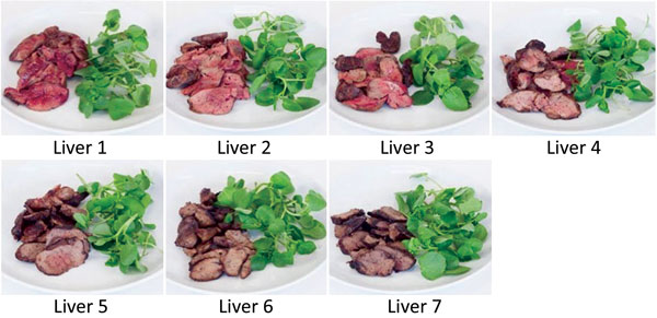 Chicken liver images, in order of cooking time/rareness, used in survey to determine preferences and knowledge of safe cooking practices among chefs and the public, United Kingdom.