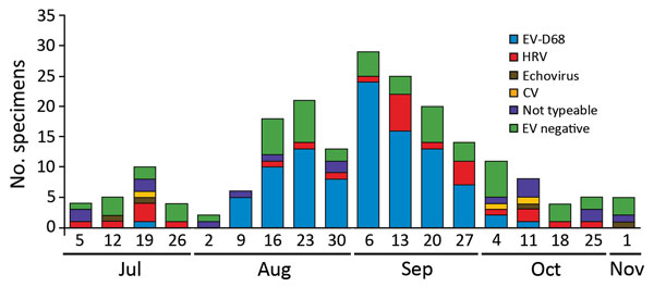 Sequencing results for 203 specimens from patients in a pediatric intensive care unit, Colorado, USA, 2014. All respiratory pathogen panel–positive samples were sent to the Centers for Disease Control and Prevention for further testing. Of these, 148 were positive by EV RT-PCR and 55 were negative by pan-EV RT-PCR. The 148 specimens positive by pan-EV RT-PCR were tested by EV-D68 real-time RT-PCR, and of these, 100 were positive (EV-D68). The remaining non–EV-D68 specimens were sent for molecula