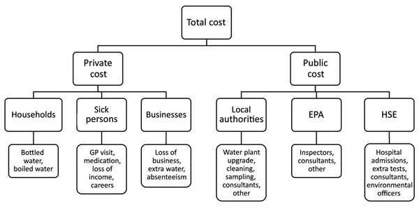 Multilevel structure of costs associated with waterborne outbreak of cryptosporidiosis, Galway, Ireland, 2007. EPA, Environmental Protection Agency of Ireland; GP, general practitioner; HSE, Health Service Executive.