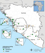 Thumbnail of Geographic distribution of diagnostic laboratories currently or previously operational in West Africa during the 2014–2015 Ebola virus response, as of December 9, 2015. Data are from World Health Organization Ebola virus disease situation reports.