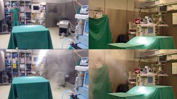Video image captures showing effect of heater–cooler unit orientation on smoke dispersal in a cardiac surgery room and transmission of Mycobacterium chimaera during cardiac surgery despite an ultraclean air ventilation system (Video, http://wwwnc.cdc.gov/EID/article/22/6/16-0045-V1.htm). The device was switched on and began to ventilate 10 s after the start of the video. Frames on the left show an overview including unit placement. Frames on the right provide a lateral view of the operating fiel