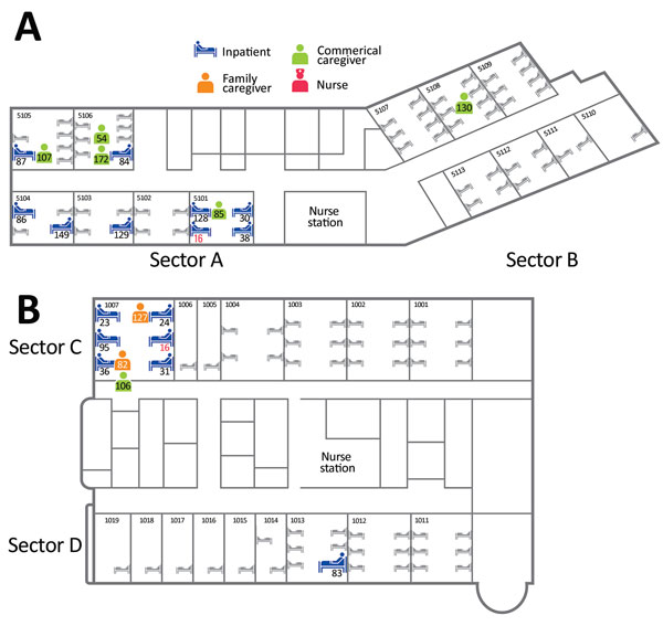 Locations of Middle East respiratory syndrome case-patients in hospitals A and B, Daejeon, South Korea, 2015, showing where case-patients were exposed to presumed infectors. Not shown are case-patient 143, an engineer working in hospital A, because the location of his exposure is unclear; case-patient 45, a family caregiver in either the emergency department or room 1015; and case-patient 148, a nurse in the intensive care unit.