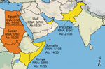Thumbnail of Six countries studied for hepatitis E virus (HEV) infection in dromedary camels, 1983–2015. Number of tested and number of HEV-7 RNA-positive samples or Ab-positive samples are given next to the study sites: Egypt, Sudan (today separated into Sudan and South Sudan), Kenya, Somalia, UAE, and Pakistan. Countries with both HEV-7 RNA and Ab detection are in red; countries with only Ab detection are in orange. Ab, antibody; UAE, United Arab Emirates; Map was created by using Quantum GIS