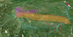 Thumbnail of Geographic locations and affected region of major highways and piglet breeding companies associated with outbreaks of human infection with Streptococcus suis minimum core genome type 1 sequence type 7, Sichuan Province, China, 2005. Colored bubbles represent Sichuan clades 2–6 (purple, red, blue, green, and orange, respectively). Stars represent the piglet breeding companies, dashed lines represent the associated highways, and colors are consistent with the clades they are related t