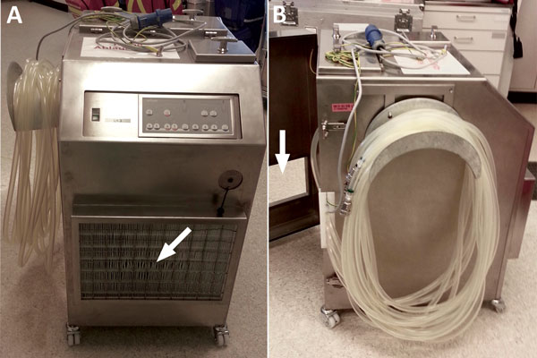 Custom-made stainless steel housing for heater–cooler units (Sorin/LivaNova 3T, Milan, Italy) used at the University Hospital Zurich, Zurich, Switzerland. A) Front view shows the fine dust filter F7 over the air inlet (arrow). B) Side view shows the half-open back door with the rectangular opening (arrow), through which a duct connects the housing to the operating room ventilation exit. The negative pressure of the operating room ventilation system generates the necessary airflow.