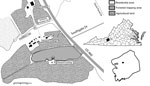 Thumbnail of Study site used for detection of Cache Valley virus in Aedes japonicus japonicus mosquitoes, Blacksburg, Virginia, USA, 2015. Insets show location of Blacksburg in Montgomery County (black box) and the county in Virginia (black shading).