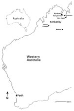 Thumbnail of Locations where Fitzroy River virus–positive mosquitoes were collected (black dots), Western Australia, Australia, 2011 and 2012. Perth (asterisk), the capital city and most densely populated area of Western Australia, is shown to indicate its distance from the Kimberley region.