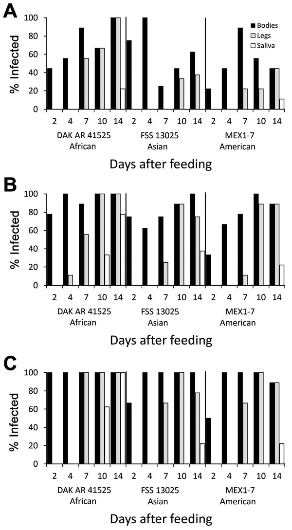 Infection, dissemination, and transmission of 3 Zika virus strains by Aedes aegypti mosquitoes from the Dominican Republic after artificial blood meals with a concentration of 4 log10 (A), 5 log10 (B), or 6 log10 (C) focus-forming units/mL.