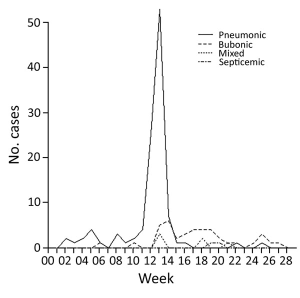 Incidence of the 4 types of plague over the duration of the epidemic in Johannesburg, South Africa, from week ending January 2 to week ending June 16, 1904.