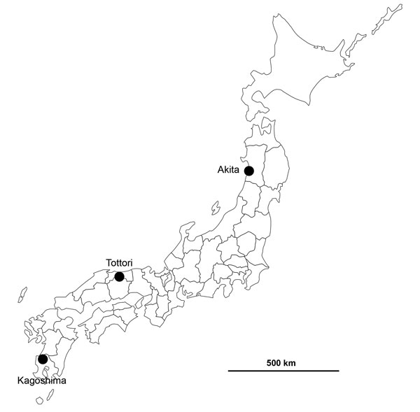 Locations of confirmed highly pathogenic avian influenza virus A(H5N6) infections in Akita, Tottori, and Kagoshima Prefectures, Japan, 2016.