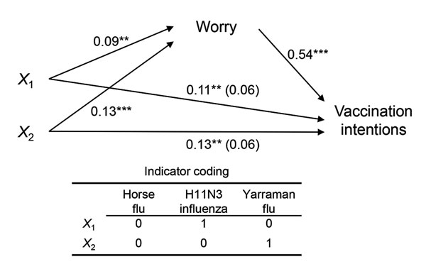 "Regression coefficients for the effect of influenza labels on worry for infection and intentions for vaccination. Label conditions were dummy coded to estimate the effects of ""H11N3 influenza"" (X1) and ""Yarraman flu"" (X2) labels compared with the ""horse flu"" label. The effect of influenza labels on vaccination intentions, controlling for worry, is in parentheses. **p<0.01; ***p<0.001."