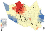 "Thumbnail of Optimized hotspot analysis results showing residential locations of persons who had West Nile virus and their association with positive mosquito hotspots, Houston/Harris County, Texas, 2002–2014. Red ""hot"" areas represent statistically significant high-risk virus-positive mosquito activity, compared with blue ""cold"" areas with low risk for positive mosquitoes."