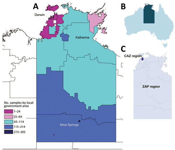 Collection areas for Neisseria gonorrhoeae samples within the Northern Territory of Australia, 2014. A) Heat map Territory showing the local government areas from which the 1,629 nucleic acid amplification test–positive clinical samples were collected. B) Location of the Northern Territory within Australia. C) Location of the CAZ and ZAP regions within the Northern Territory. CAZ, ceftriaxone via intramuscular injection and oral azithromycin; ZAP, azithromycin, amoxicillin, probenecid.
