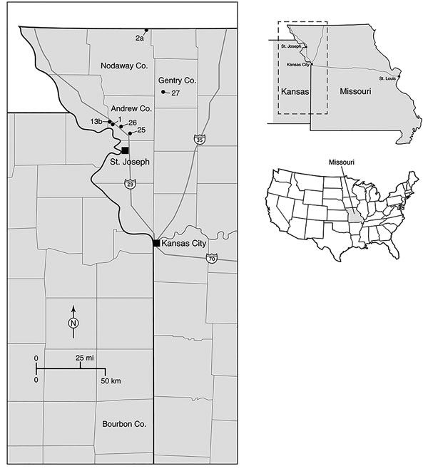Locations of 6 tick sampling sites surveyed in northwestern Missouri, USA, during 2013 (indicated by site numbers), showing proximity of site to Bourbon County, Kansas (bottom center of map). Inset maps show location of area in main map (top, dashed box) and location of state of Missouri in the United States (bottom, gray shading). Co., County.